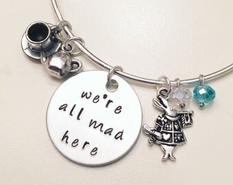 We're All Mad Here Alice in Wonderland Mad Hatter Disney Inspired Stamped Adjustable Bangle Charm Bracelet