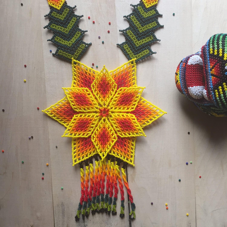 yellow tonantzin beaded necklace handmade by mexican