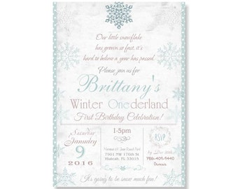 Winter Onederland Birthday Invitation, Girl's First Birthday, Winter Wonderland Birthday Party, 1st Birthday, Snowflake, Shabby Chic 297