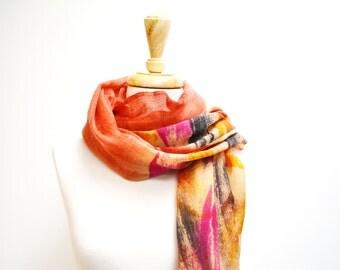 Silk and Wool Scarf / Wool Scarf / Orange Scarf