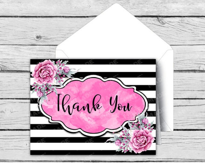 Printed THANK YOU Note Card Set - Pink Peony - Motivational Cards, Positive Inspiration, Printed Thank You Cards, Stationery