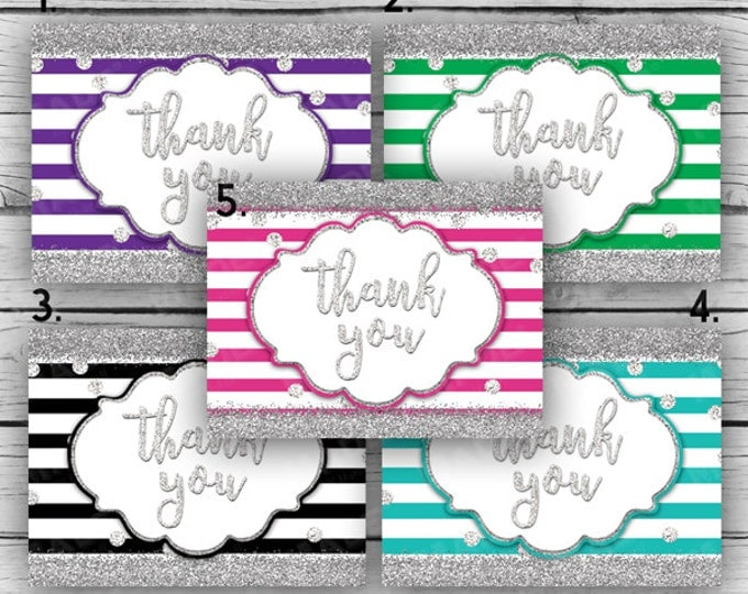 Printed GLITTER THANK YOU Note Card Set - Stripes-Silver Glitter, Motivational Cards, Printed Thank You Cards, Stationery