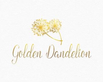 Gold Dandelion Logo Design , Dandelion Flower , Dandelion Branding , Make a Wish , Flower Logo , Floral Logo , Gold Flowers , Two Flowers