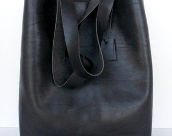 Black Leather Tote - Black Leather Bag -  Black Leather Bag,Simple Leather Tote