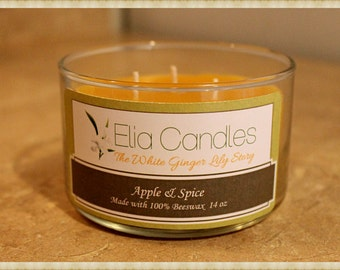 100 % Pure Beeswax Candles ~ 14oz ~ Scented Candle ~ Hand poured with love .