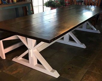 Handcrafted Farmhouse Table with Trestle Base