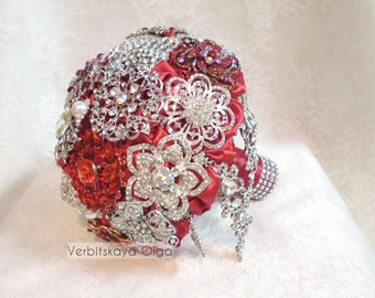 Bridal bouquet, handmade,color  red