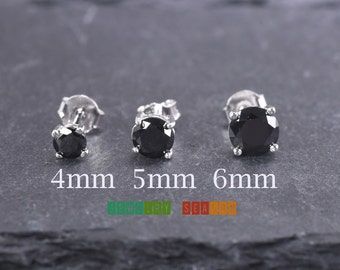 Black Stud Earrings 4mm 5mm 6mm Onyx Cubic Zirconia Silver Stud Toddler Children Push Back Earring Pair