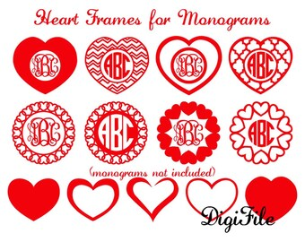 Heart Frames for Monograms SVG, DXF, EPS, for Cricut Design Space,Silhouette,Makes the Cut,Sure Cuts A Lot,Vinyl Cutters