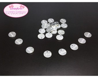 50 charms Love silver shiny 9mm