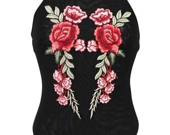 Black Sheer Mesh Halterneck Rose Applique Bodysuit