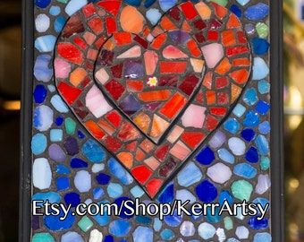 Two Hearts Joined As One Mosaic Glass Wall Art
