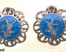 Siam Sterling Dancer Blue Enamel Earrings Vintage