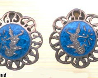 Siam Sterling Dancer Blue Enamel Earrings Vintage
