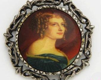 Vintage Portrait Brooch Pin Pendant