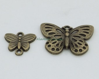 Antique  Brass Butterfly Charms & Links 17X17MM Brass Cut-Out Butterfly Charm