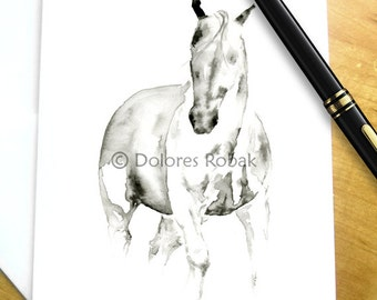 Horse card, Horse birthday card, Abstract watercolor horse card, Horse greeting card, Equestrian card, Horse blank card, Horse sympathy card