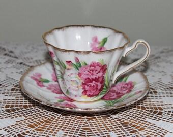Royal Stafford Bone China Teacup  Carnation Made in England Tea Cup