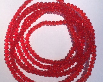 Translucent Red Sparkly Double Wrap Necklace