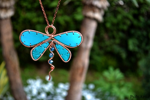 Dragonfly jewelry Dragonfly necklace Dragonfly handmade necklace Turquoise necklace long Polymer clay necklace Wire wrapped dragonfly Summer