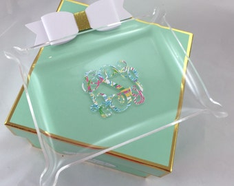 Lilly Inspired Monogrammed Acrylic Tray