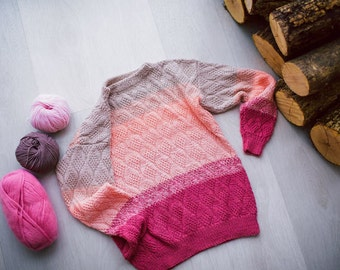 Oversize Sweater, Chunky Knit Sweater, Color Block Sweater, Boho Sweater, Knitted Sweater, Women Sweater, Knit Top, Pink Knitted Sweater