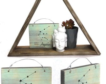 Aquarius Constellation Zodiac Sign - Reclaimed Wood Signs
