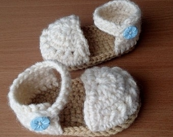 Cream and Beige Baby Sandals  Crocheted Baby Booties Espadrilles Style Baby Boots
