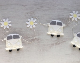 Wedding Campervan Bunting/Garland with Daisies - Your Choice of Colour