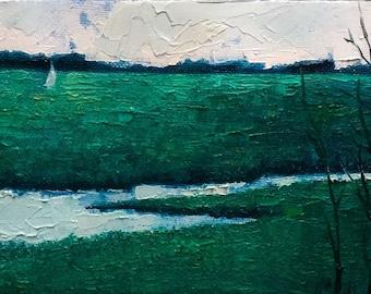 Original Oil Painting, Marsh, Summer, Lowcountry, Boat