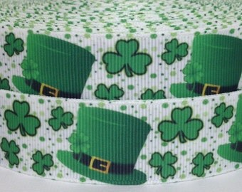 "3 yards 1"" St Patricks Day Grosgrain Ribbon-St Patricks Day Ribbon-3 yards St Patricks Grosgrain Ribbon-St Patricks Grosgrain Ribbon"