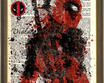 Marvel Deadpool art, Merc with a mouth, Deadpool logo on  upcycled vintage dictionary page 8x10