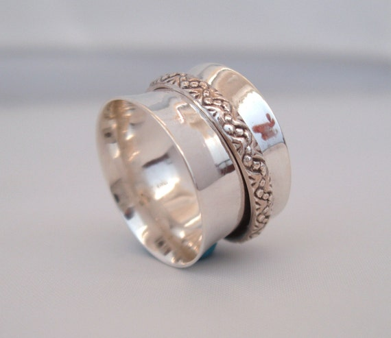 sterling silver meditation spinning ring size by