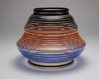 Art Deco 1930s enamelled glass vase