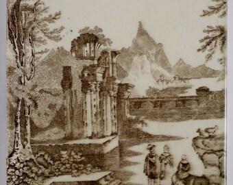 Antique 1890s English Victorian Wordsworth ruin & landscape tile