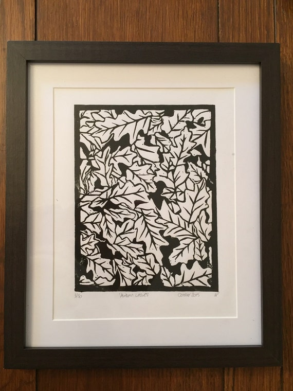 Autumn Leaves Linocut Print Limited Edition