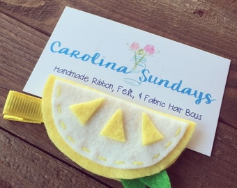 Lemon Felt Hair Clip-Summer-Birthday-Lemon-Baby-Girl
