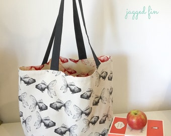 Reversible large tote bag - goldfish bag - large tote - shopping bag - market bag - big tote - beach bag - beach tote - woman bag - mum bag