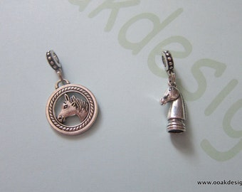 Handmade European Bracelet Charm & Snaffle Bit Bracelet Horse Themed Equestrian