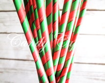GREEN RED STRIPE, 25 Paper Straws With Green & Red Stripes, Christmas Paper Straws