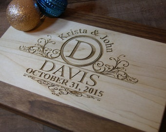 """Engraved Cutting Board  monogrammed cutting board personalized cutting board 12x9""""x.75"""" Chopping Board  Wedding Gift House Warming Gift"""