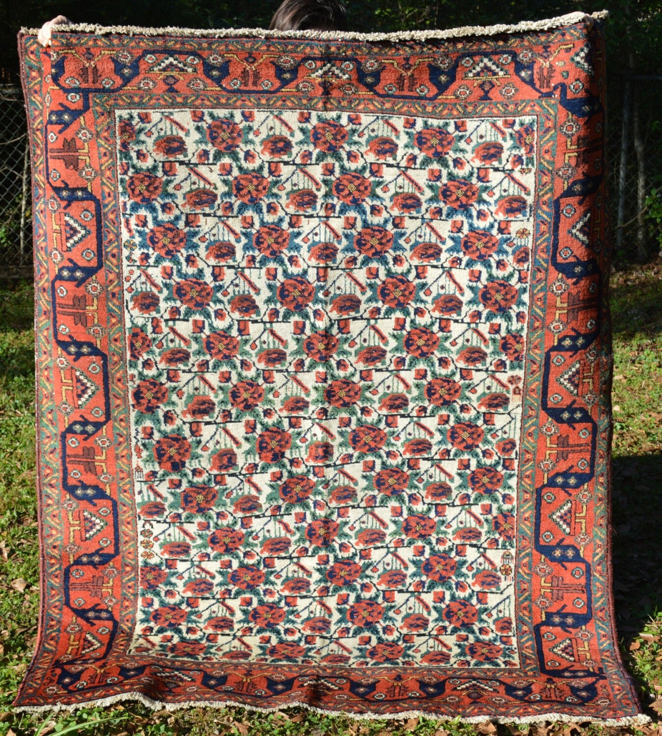 Vintage Floral Rugs: Antique Persian Rug W/ Fine Floral Pattern By