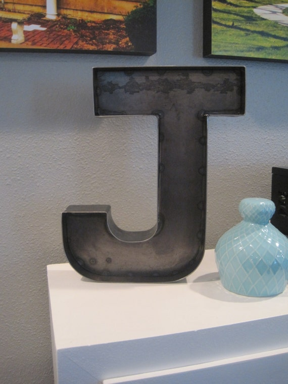 12 rustic metal letter j for wall or shelf industrial for Large letter j for wall