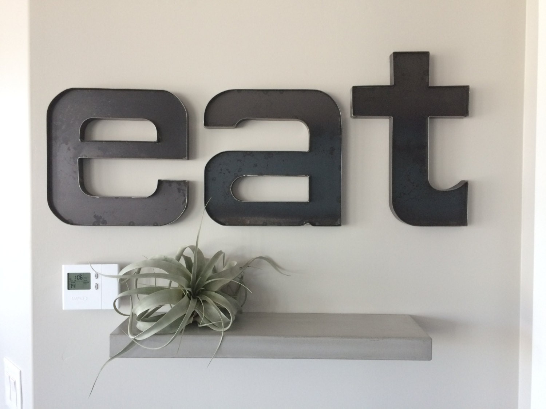 metal eat sign raw steel u0027eat u0027 wall letters rustic