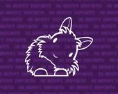 Peering cute head tilt lionhead rabbit decal; bunny car sticker / laptop sticker / phone vinyl sticker, glossy white