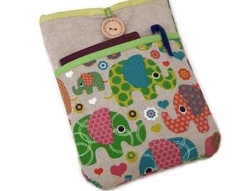 Nexus 10 sleeve, Padded Nexus 9 case, Protective Nexus 7 sleeve pouch case  Linen Elephants Pocket
