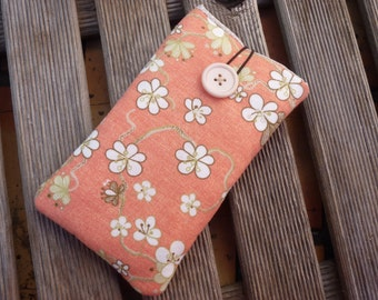 iPhone 7 Plus case Flowers Fabric / Iphone 5S Sleeve / Floral iPhone 6s Plus Case / iPhone SE Cover / Cell phone pouch