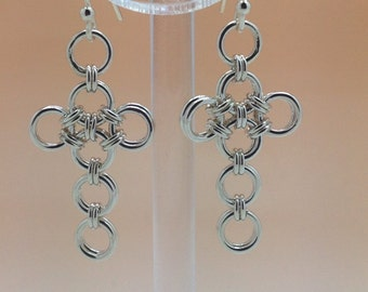 Sterling Silver Chainmaille Cross Earrings Hallmarked.