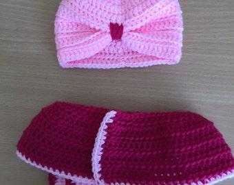 Baby Girl Crochet Turban and Diaper Cover Skirt Photo Prop Set
