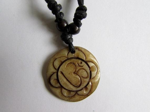 Adjustable Wax cord Om Ohm Aum Namaste Yak bone necklace handmade hand carved Unisex Tribal bone beads Yoga Yogi Free UK Delivery